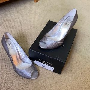 Adrianna Papell silver high heels